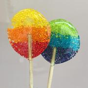 Pirulito de Açúcar em 3 cores de confeitos miçangas - 6 unidades