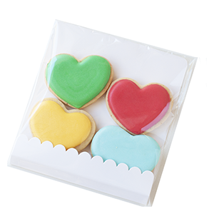 Biscoitos Decorados Corações- pacote com 4 unidades