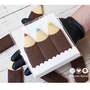 Biscoitos Decorados Lápis - pacote com 3 unidades