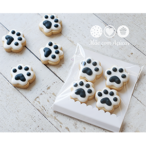 Biscoitos Decorados Patinhas de Cachorro - pacote com 4 unidades