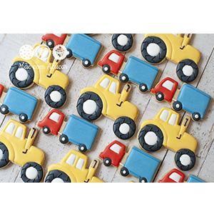 Conjunto de Biscoitos Decorados Caminhões e Tratores - 6 unidades