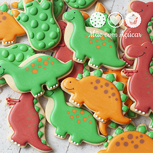 Conjunto de Biscoitos Decorados Dinossauros - 8 unidades
