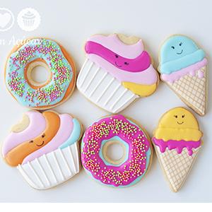Conjunto de Biscoitos Decorados donuts, sorvetes e cupcakes - 6 unidades