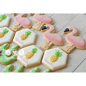 Conjunto de Biscoitos Decorados Flamingos - 8 unidades