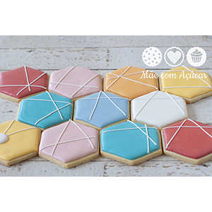 Conjunto de Biscoitos Decorados Hexágonos - 7 unidades