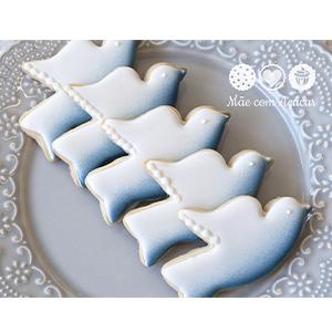 Conjunto de Biscoitos Decorados Pombinha - 6 unidades