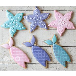 Conjunto de Biscoitos Decorados Sereia - 6 unidades