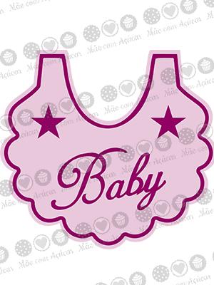 Cortador de Biscoito Babador 02 (Tema Batizado ou Chá de Bebê)