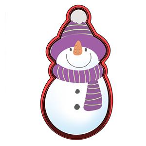 Cortador de Biscoito Boneco de Neve com Cachecol de Natal