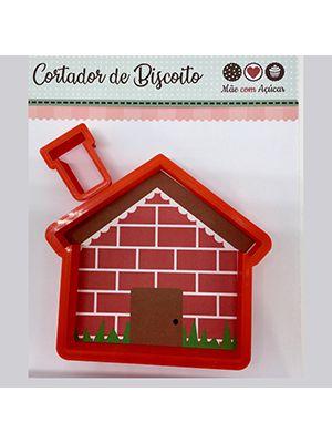 Cortador de Biscoito Casa com Chaminé (Cortador casinha mais um cortador para a chaminé) (Conjunto com 2 peças de cortadores individuais)