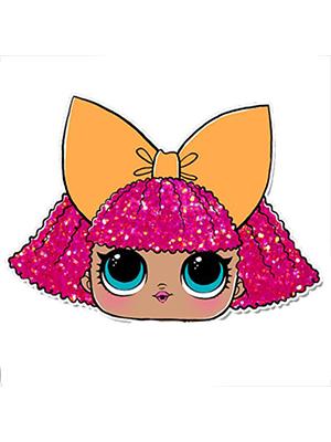 Cortador de Biscoito Glitter Queen/ Diva/ Pranksta (Rosto) (Menina/ Bonequinha com laço) (Tema Boneca LOL Surprise)