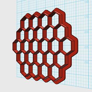 Cortador De Biscoito Hexágono 3,0 cm - (Placa com 24 hexágonos de 3cm de altura)