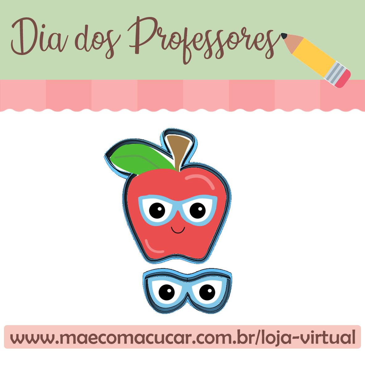 Cortador de Biscoito Maçã de Óculos (Conjunto com 2 cortadores individuais) (Tema Dia do Professor ou Escola)