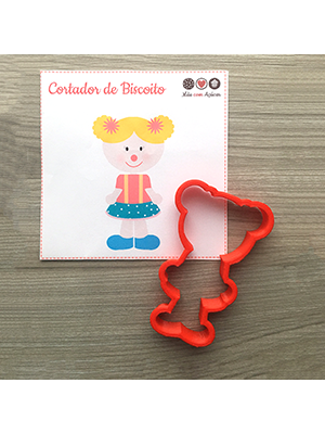 Cortador de Biscoito Palhacinha (Menina/ Boneca com coques no cabelo) (Tema Circo)