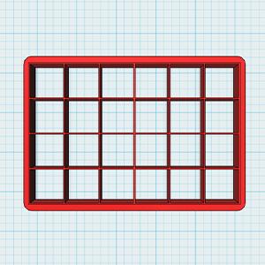 Cortador De Biscoito Quadrado 2,0 cm - (Placa com 24 quadrados de 2cm)