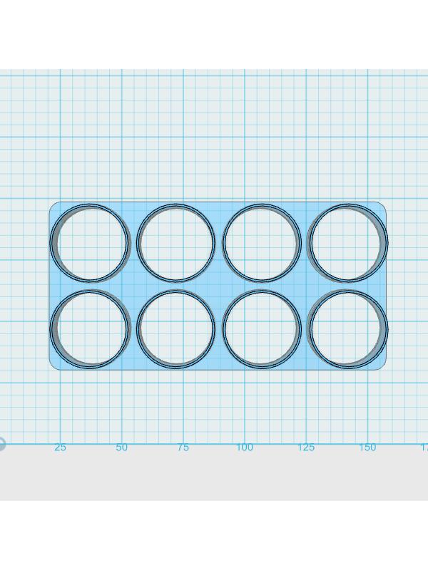 Cortador De Biscoito Redondo 3,0 cm - (Placa com 8 círculos de 3cm de diâmetro)