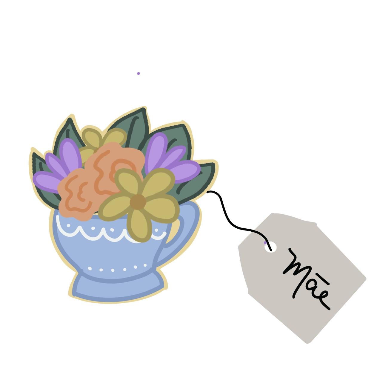 Cortador de Biscoito Xícara com flores + saquinho de chá