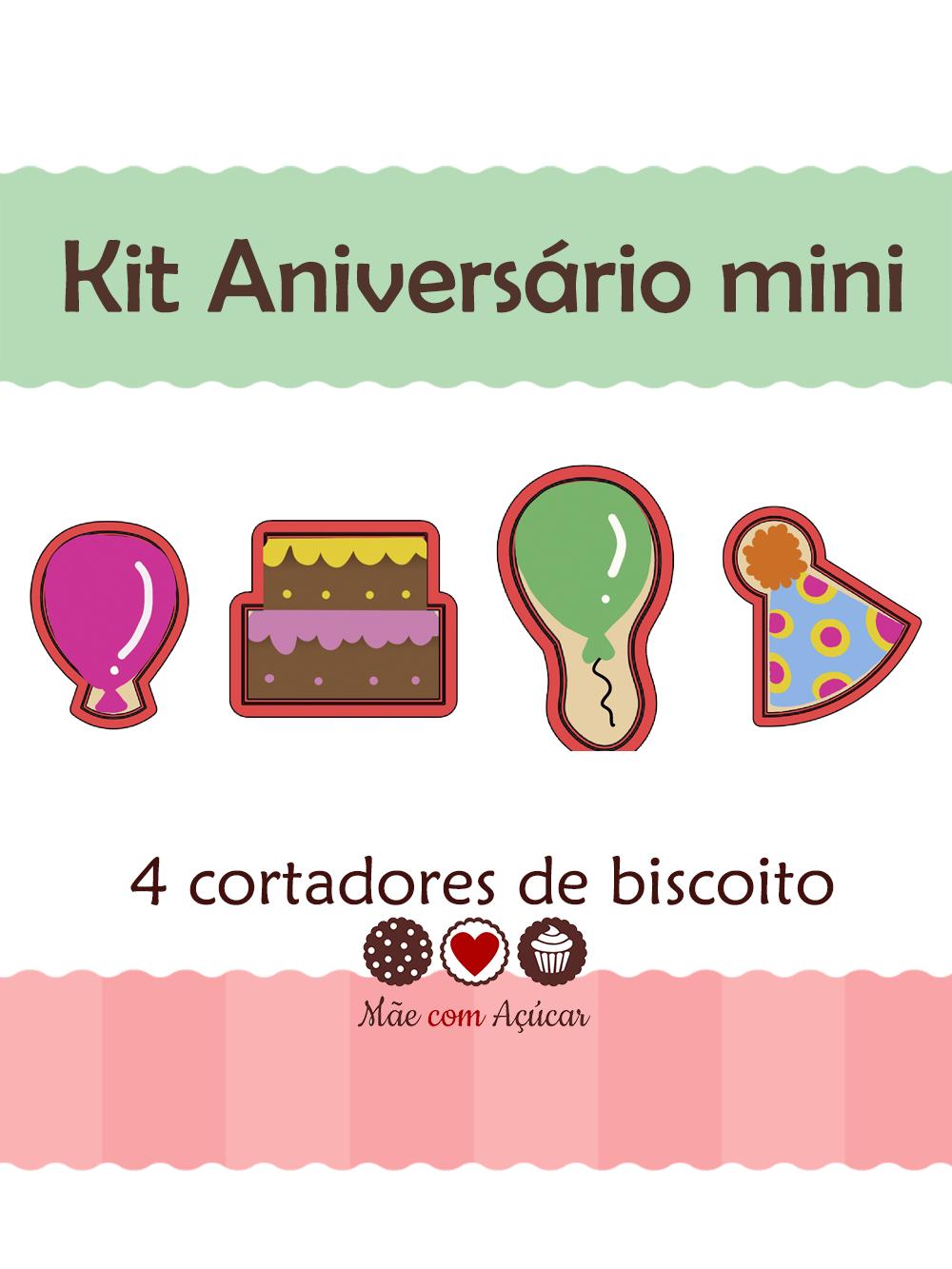 Kit de Cortadores de Biscoito mini Tema Aniversário