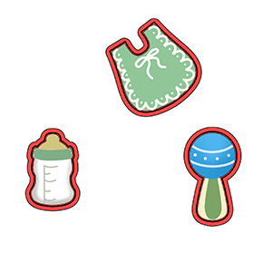 Kit de Cortadores de Biscoito mini Tema Bebê