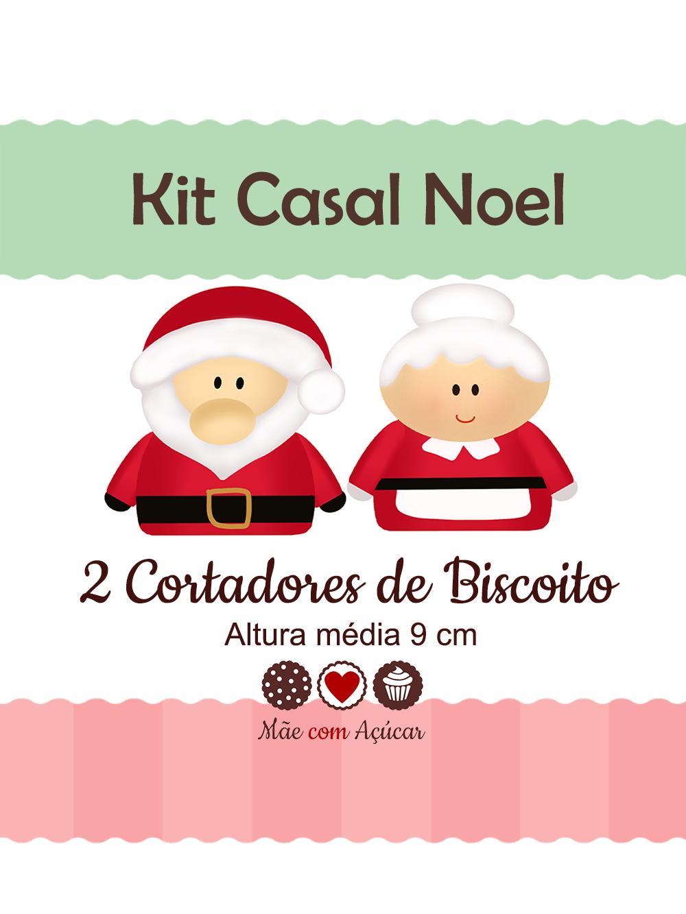 Kit de Cortadores de Biscoito Tema Casal Noel