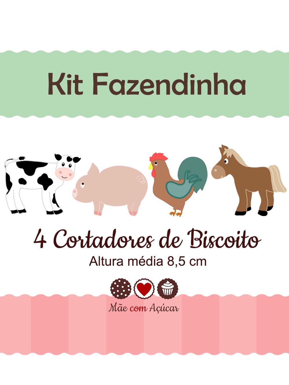 Kit de Cortadores de Biscoito Tema Fazendinha