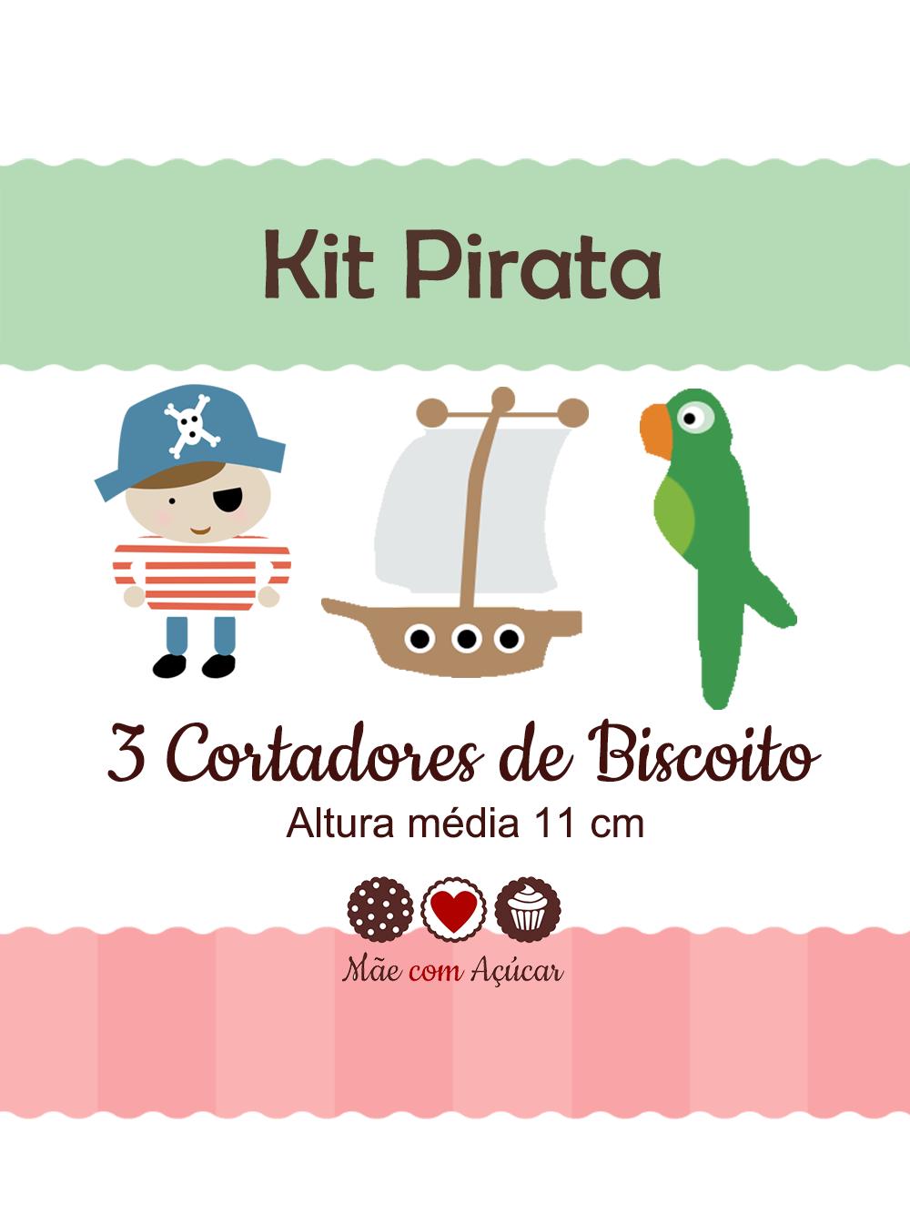 Kit de Cortadores de Biscoito Tema Pirata