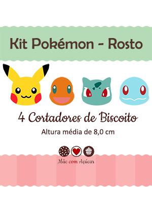 Kit de Cortadores de Biscoito Tema Pokémon - Rosto