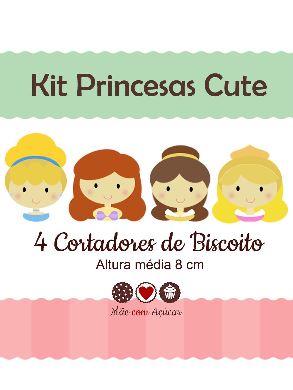 Kit de Cortadores de Biscoito Tema Princesas Cute