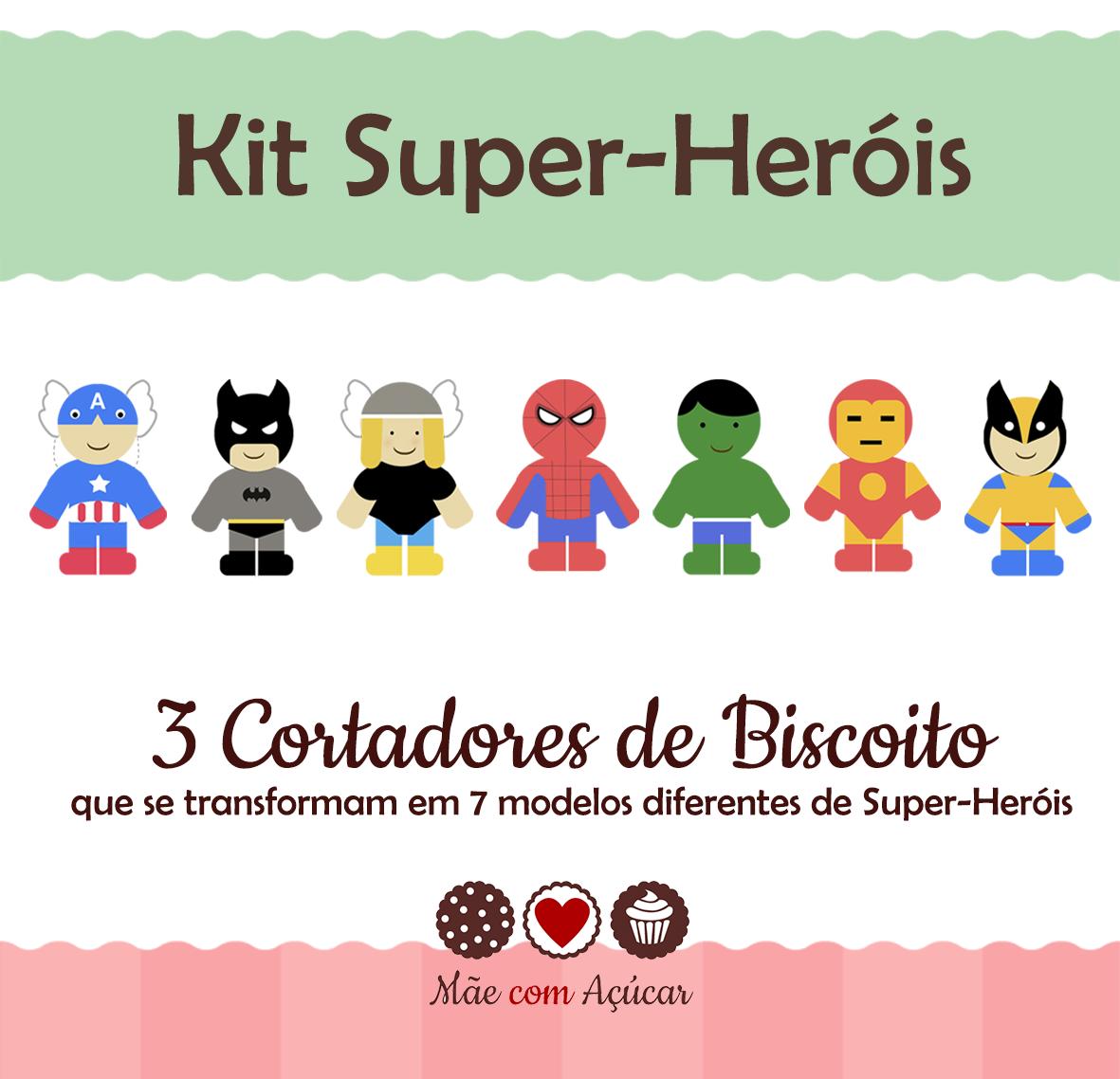 Kit de Cortadores de Biscoito Tema Super-Heróis