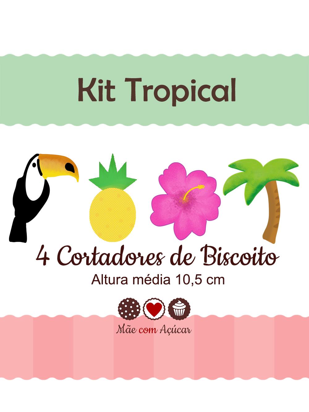Kit de Cortadores de Biscoito Tema Tropical