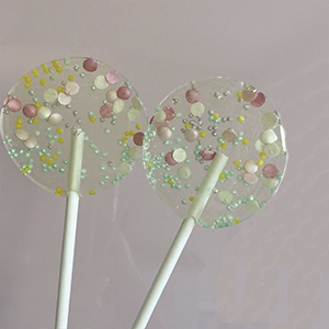 Pirulito de Açúcar Confetes Metalizados e Miçangas - 6 unidades