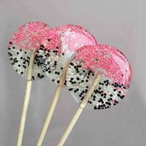 Pirulito de Açúcar Pink e preto e branco - 6 unidades