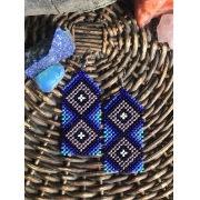 Brinco Indígena Tons de  Azul