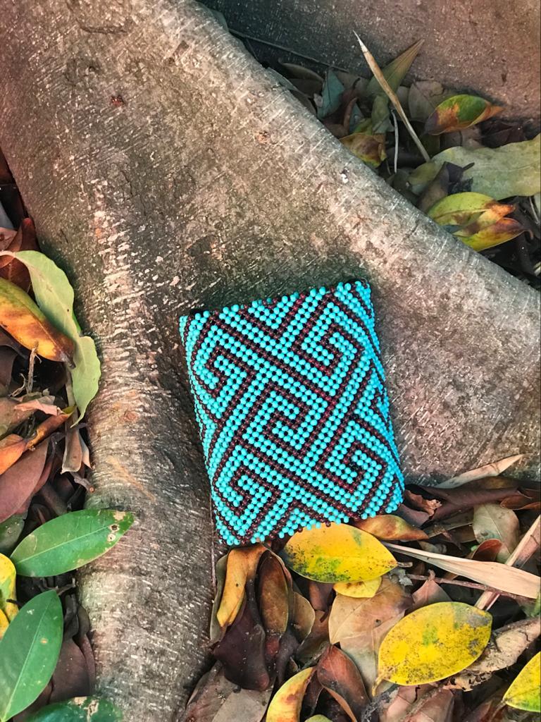 Pulseira Indígena Larga Azul/Marrom