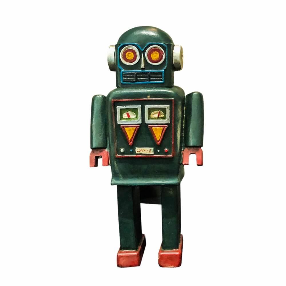 Adorno Robô Verde em Resina