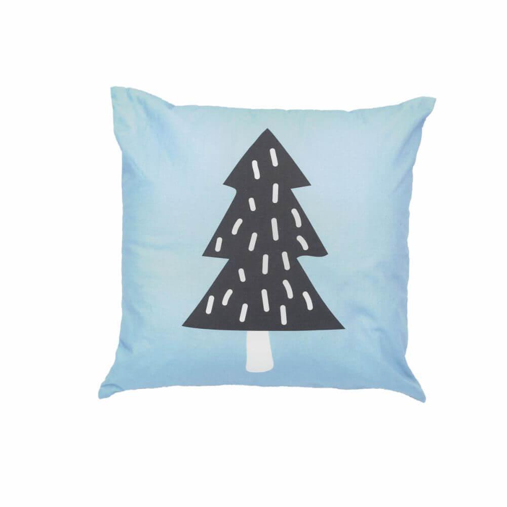 Almofada Decorativa Quadrada Azul com Pinheiro