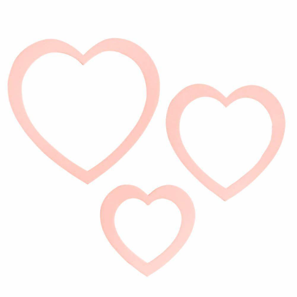 Aplique em Acrílico Coração Rosa (Kit com 3 Unidades) - Adot
