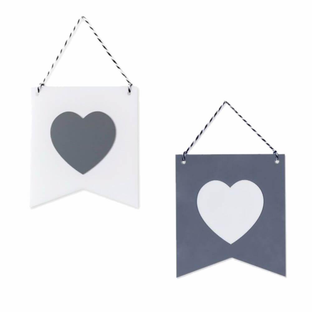 Bandeirinha (Estandarte) Decorativa Branca e Cinza em Acrílico (Unidade) - Adot