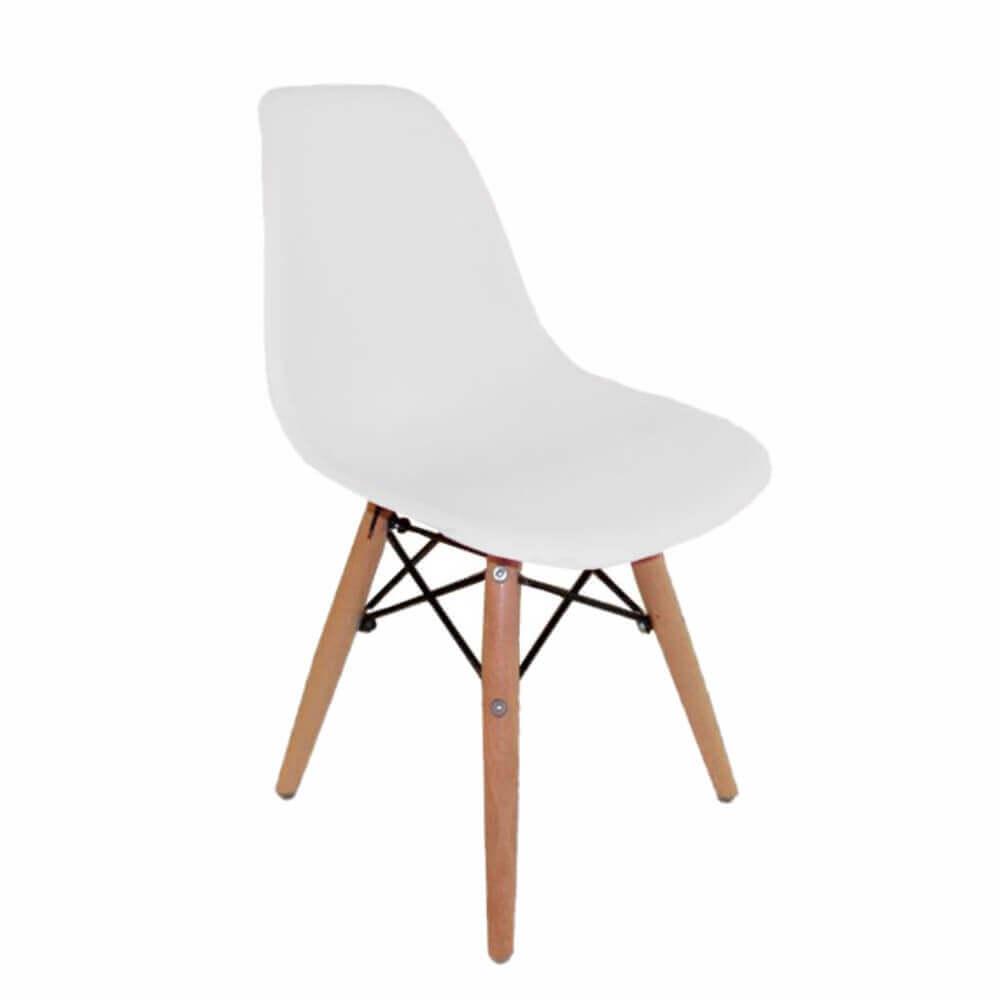 Cadeira Infantil DKR Wood Kids Polipropileno Branca