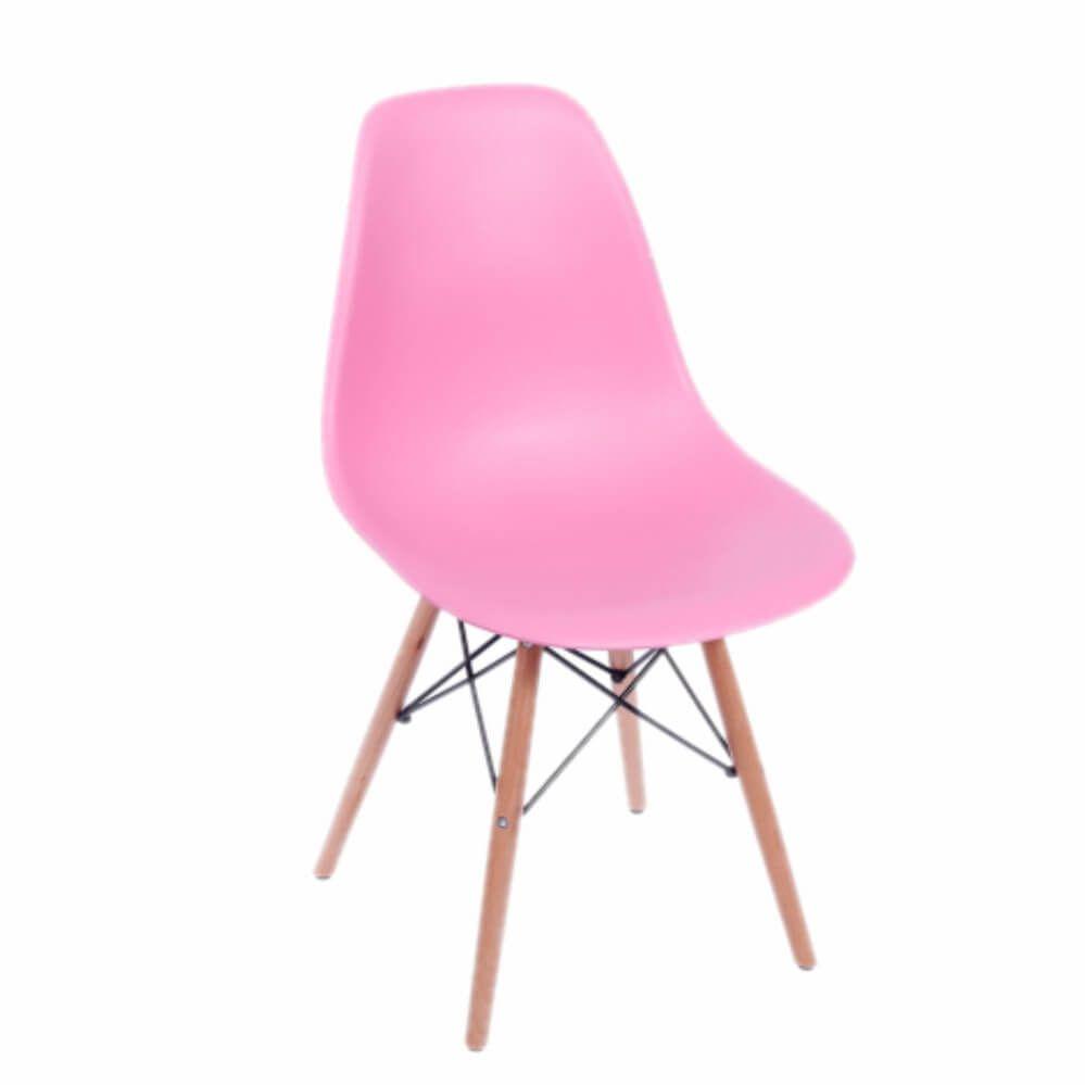 Cadeira Infantil DKR Wood Kids Polipropileno Rosa