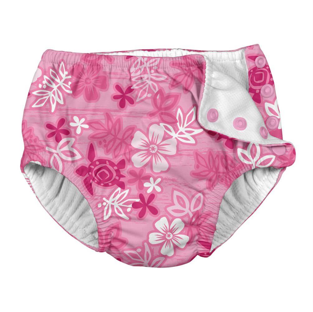 Calcinha de Piscina Infantil com Fralda Interna com FPS 50+ Havaí Pink - iplay