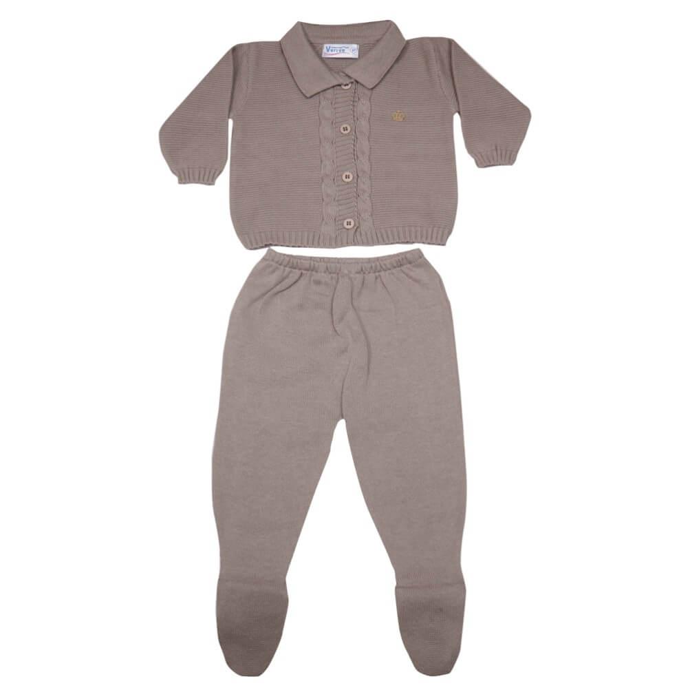 Conjunto Casaco e Calça de Tricô para Bebê - Verivê