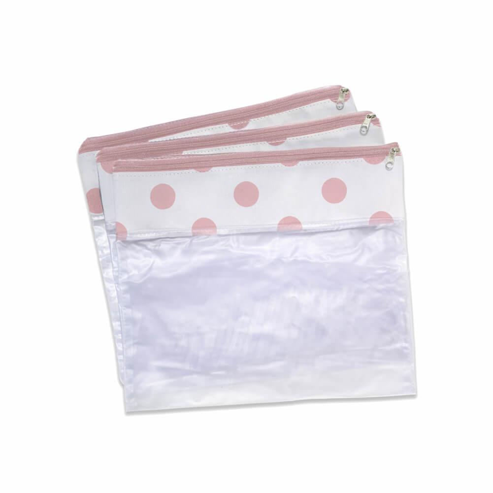 Conjunto de 3 Saquinhos Brooklyn Rosa - Masterbag Baby