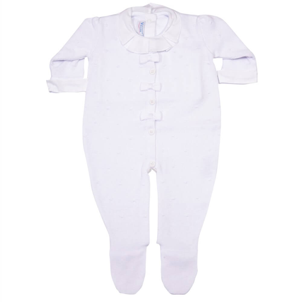 Conjunto de Body e Macacão Branco em Tricô para Bebê - Verivê