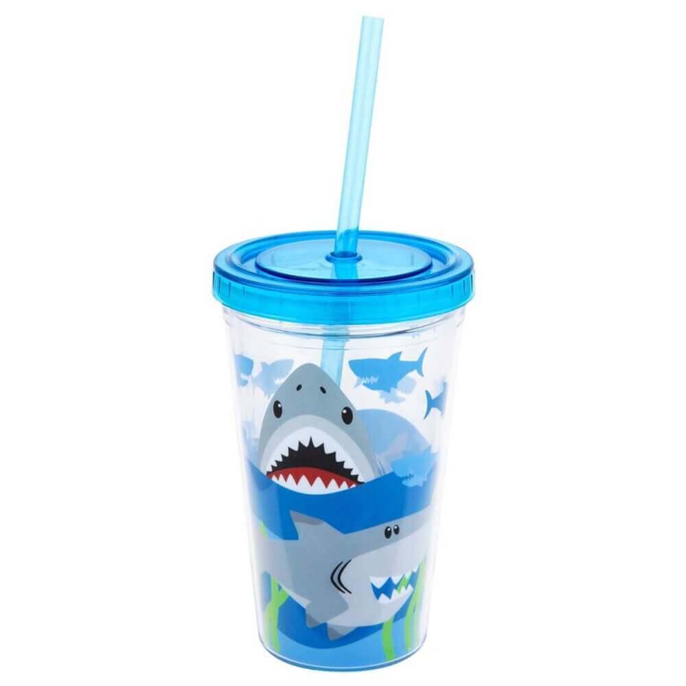 Copo Stephen Joseph Infantil Com Canudo Tubarão