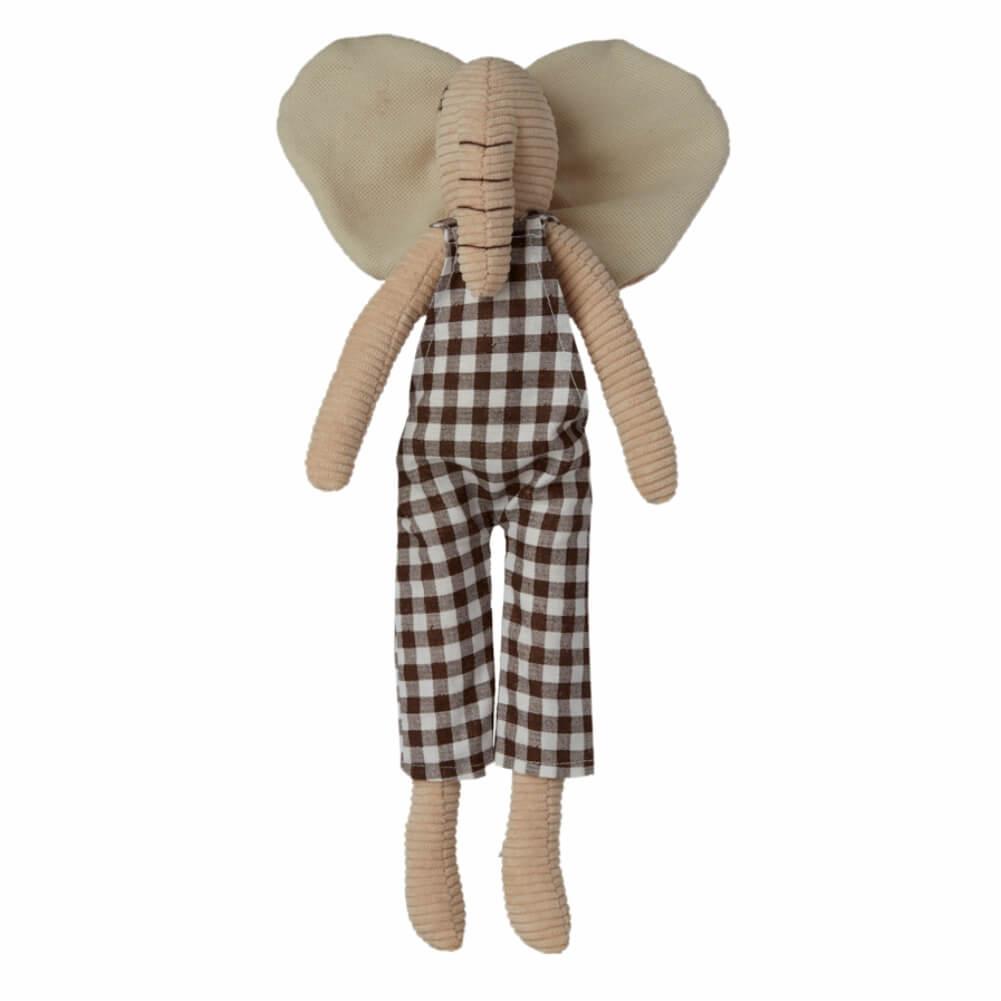 Elefantinho (Doudou) de Jardineira Xadrez
