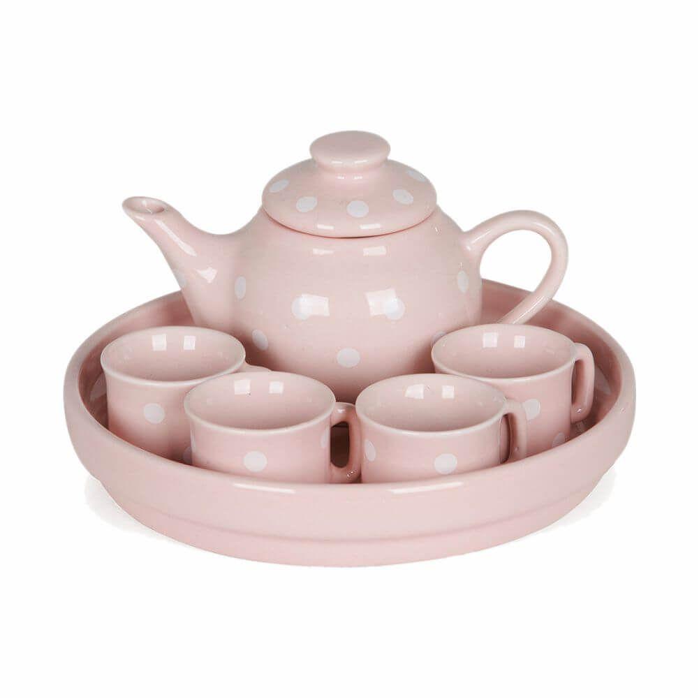 Jogo de Chá em Cerâmica Rosa - Modali Baby