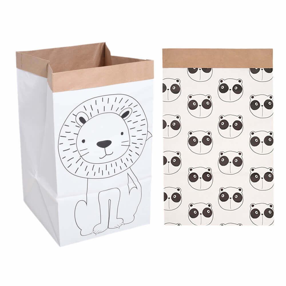 Kit com 2 Cestos de Papel - Panda e Tigre