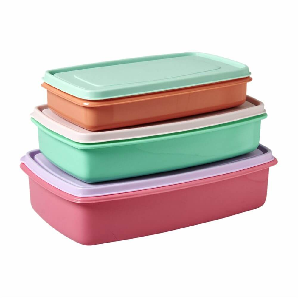 Kit Rice 3 Potes Coloridos Retangulares