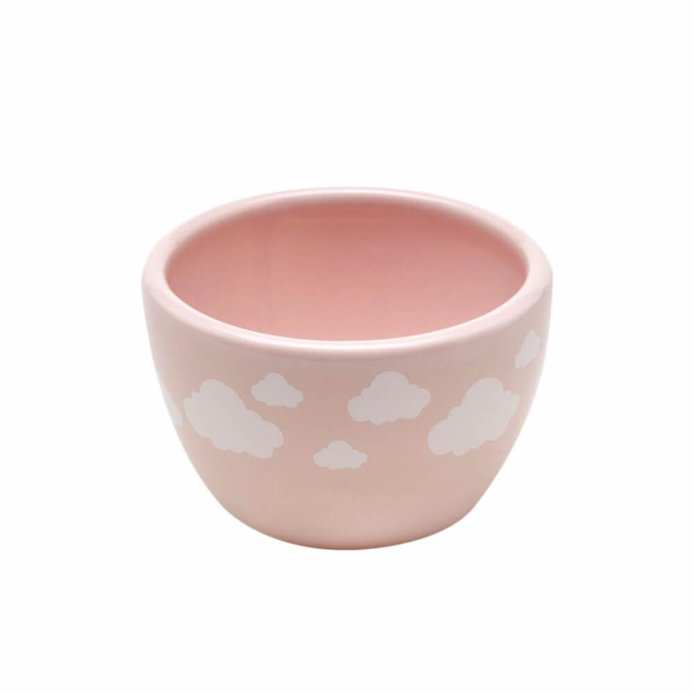 Molhadeira em Cerâmica para Kit Higiene - Rosa com Nuvens Brancas